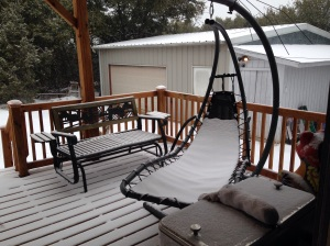 I know that my kinfolk up in Indiana might scoff at the snow in this picture, but it's not often that we get snow here in Texas!